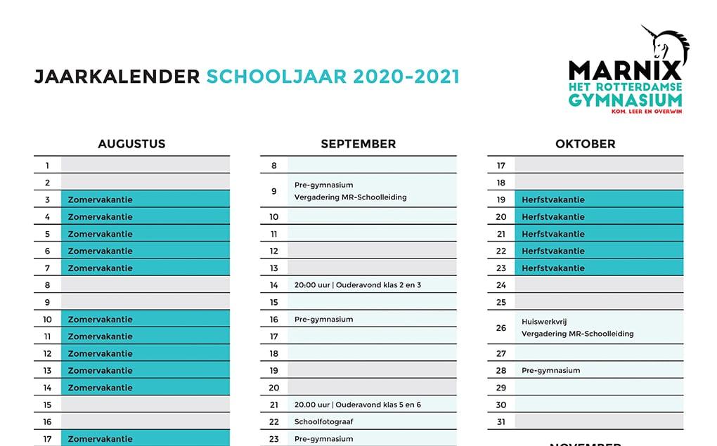 Planning schooljaar 2020-2021